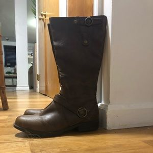Madden Gurl mid calf brown boot